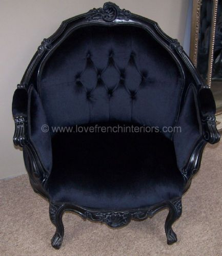 Armchair Upholstered in Noir Black Velvet